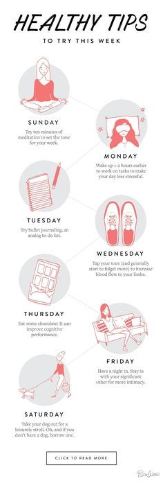 Instead of trying to overhaul the entire week, focus on one small thing a day. T… Instead of trying to overhaul the entire week, focus on one small thing a day. These little changes really add up. Self Improvement Wellness Tips, Health And Wellness, Health Tips, Health Fitness, Yoga Fitness, Health Benefits, Fitness Hacks, Mental Health Day, Fitness Exercises