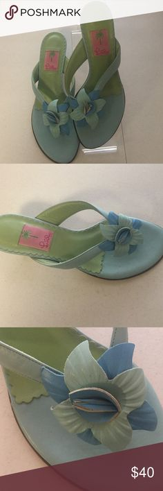 "Lilly Pulitzer blue green flower Sandals 9.5 M Beautiful Sandals from Lilly Pulitzer. Size 9.5 M. Blue and green with a flower on the top. Leather. 2"" kitten heel. Excellent condition. Lilly Pulitzer Shoes Sandals"