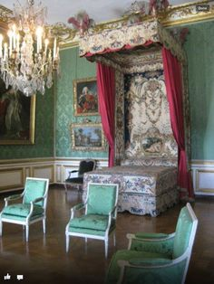 Bedroom Silk walls and amazing tapestries  Versailles France