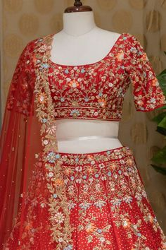 Raw Silk Lehenga, Red Lehenga, Bridal Lehenga Choli, Silk Dupatta, Silk Sarees, Embroidered Clothes, Bell Sleeve Top, Sequins, Wardrobes
