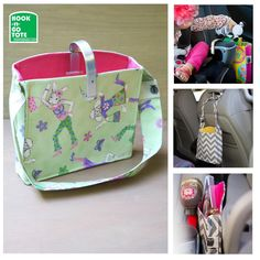 SUPER SALE! Hook Handle Tote with Attached Strap. Exclusively Designed & USA made. Car Organizer. With pink-green bunny-sheep characters