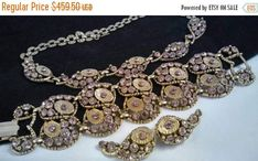 Now On Sale Lavender Rhinestone Necklace Bracelet Earring Set