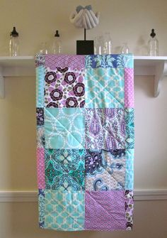 Modern Baby Quilt  Patchwork  Lavender and Aqua  by FernLeslieBaby, $98.00