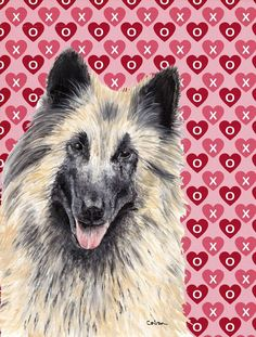 Belgian Tervuren Hearts Love and Valentine's Day Flag Canvas House Size