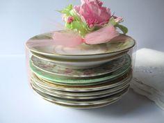 Vintage Mismatched China Floral Saucer Collection by jenscloset
