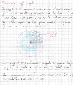 Misuriamo gli angoli L'angolo giro misura 360° ti sei mai chiesto perché? Gli uomini antichi pensavano che la durata di un anno fos... Notebook, Bullet Journal, Study, Teaching, Maths, Geography, Alphabet, Musica, Notes