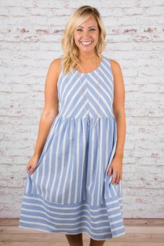 Home Sweet Home Dress, Blue