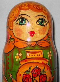 Vtg 3 pc Signed Russian Nesting Dolls Girl with Urn Matryoshka Made in Russia