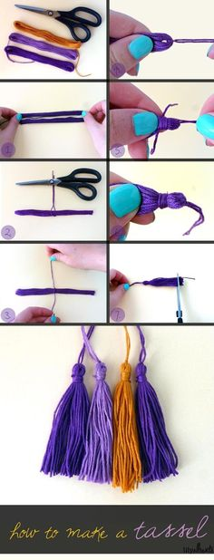 DIY - How to make a tassel tutorial. One of those things every crafter should know. Add to cushions, jewellery & more. Paperclip Crafts, Beaded Beads, Diy Jewelry, Jewelry Making, Sewing Projects, Craft Projects, Diy And Crafts, Arts And Crafts, Diy Bookmarks