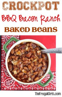 Crockpot BBQ Bacon Ranch Beans Recipe! ~ from TheFrugalGirls.com - these Slow Cooker Barbecue beans couldn't be easier and are packed with delicious flavor!! #slowcooker #recipes #thefrugalgirls