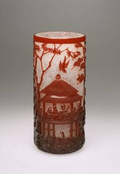 Chinese Glass Brushholder with Figures in a Garden: 2nd half of18th century. Opaque white glass with red overlay