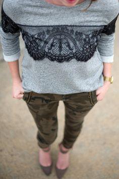 Zara Camo Jeans & gray lace sweater