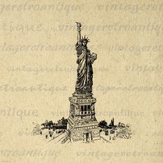 New York City Statue of Liberty Digital Graphic Image Printable Download Antique Clip Art. High resolution digital graphic for fabric transfers, making prints, t-shirts, pillows, tea towels, and more great uses. Great for use on etsy items. This digital graphic is high quality at 8½ x 11 inches large. Transparent background version included with all images.