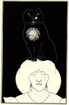 The Black Cat - Aubrey Beardsley. Illustrating  the story by Edgar Allan Poe.  Probably my favourite. E.