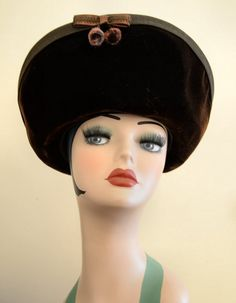 Vintage 1940's Brown Velvet w Pom Pom by VintageClothesNJunk