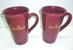 "NEW Set 2 GEVALIA 6"" Tall Latte Mocha Coffee Mugs Burgundy Gold Lettering 16 oz #Gevalia"