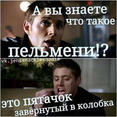 А вы знаете что такое пельмени?.. Это пятачок завёрнутый в колобка. #Дин_Винчестер #Мем #Сверхъестественное #Dean_Winchester #Supernatural