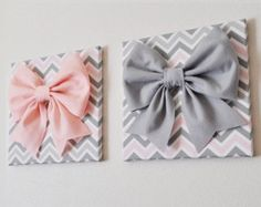Wall Decor Large Pink Bow on Black and White Chevron by bedbuggs