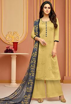 Shop cream cotton,satin palazzo suit , freeshipping all over the world , Item codeFawn palazzo kameez with dupatta. Work - Embroidery on kameez with digital print on dupatta. Kameez length is approximately inches. Matching bottom and dupatta comes wi Pakistani Dress Design, Pakistani Dresses, Indian Dresses, Indian Outfits, Designer Suits Online, Best Designer Dresses, Indian Designer Suits, Indian Attire, Indian Ethnic Wear