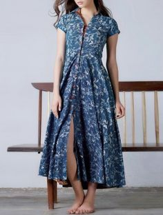 Indigo-Red Button Down Flare Natural Dyed Block Printed  Cotton Maxi Dress