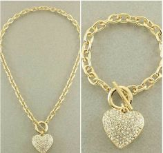 Gold Heart Toggle Necklace and Bracelet Set from P.S. I Love You More Boutique