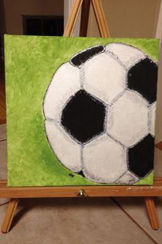 Soccer ball canvas painting. Www.fleurdeanie.com
