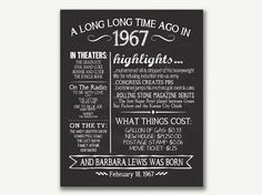 The Year 1967 Personalized 50th Birthday by JustAPeekAHoo on Etsy