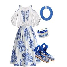 flamingo blue by arahmarina on Polyvore featuring polyvore fashion style Abercrombie & Fitch Chicwish TOMS Domo Beads