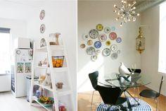 Тарелки на стене кухни в современном стиле