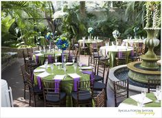 Peacock themed wedding, table settings. Green tablecloths with purple napkins and blue and green tall centerpieces! Palm house, Franklin Park Conservatory