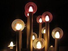 vintage Noma Halo Light Candolier Xmas 7 Cardboard Candles Wood Base candelabra (01/01/2014)