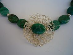 Ruby Zoisite semiprecious gemstone  chocker with crocheted focal flower.