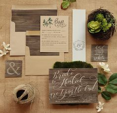 Rustic Invitation Set - Wood & Kraft Wedding Invite Suite for a Country Barn Wedding - Printable - Printed by PaperPeachShop on Etsy https://www.etsy.com/listing/524155739/rustic-invitation-set-wood-kraft-wedding