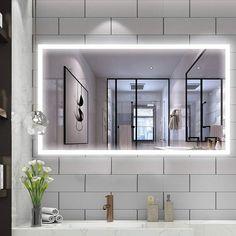 Vanity Art LED Lighted Illuminated Bathroom Vanity Wall Mirror with Sensor Switch, Horizontal Rectangle White Mirrors, Clear Vanity Wall Mirror, Bathroom Mirror Lights, Lighted Wall Mirror, Led Mirror, Bathroom Vanity Lighting, Mirror With Led Lights, Vanity Sink, Contemporary Bathroom Mirrors, Modern Bathroom Design