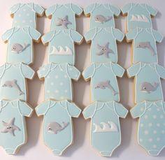 Onesie cookies sea theme by Miss Biscuit Onesie Cookies, Baby Cookies, Baby Shower Cookies, Cut Out Cookies, Decorating Supplies, Cookie Decorating, Baby Boy Shower, Baby Shower Gifts, Wishes For Baby Boy