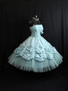 Vintage 1950's 50s STRAPLESS Will Steinman Bombshell Turquoise Blue Taffeta Tulle Lace Party Prom WEDDING Dress Gown on Etsy, $599.99