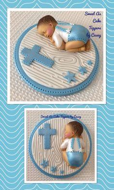 1 X Baby Boy Christening Cake Topper. Cake Decorating. Baptism. Fondant. Stars  | eBay
