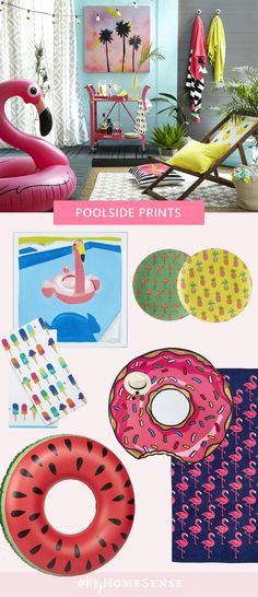 Channel retro pool party cool with playful prints featuring your fave summer icons: pineapples, flamingos and palm trees. All your pool party essentials are just a splash away -- summer vibes are in full swing at your nearest HomeSense!