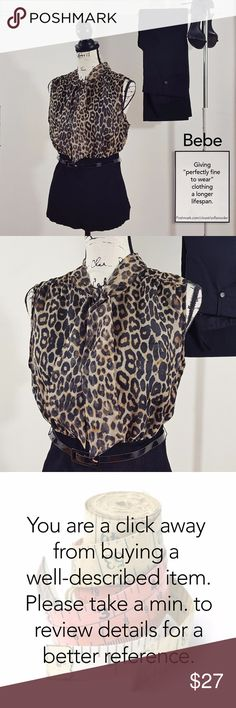 """Bebe animal print blouse XL Very sophisticated looking blouse.  Condition: Great. Barely worn. After careful inspection, no sign of stains, tears or flaws.  Measures 20"""" from pit to pit and is 25"""" long. Sleeveless. Features laces at neckline to make a bow or a simple knot. Adjust at waist with skinny belt (included). Polyester blend. Images represent exactly how product/s look/s like. Ships within 24 hours after purchasing. BUNDLE AWAY AND SAVE. bebe Tops Blouses"""