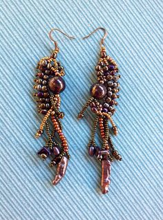 Beautiful beaded earrings in shimmering earth tones. by JudesArt