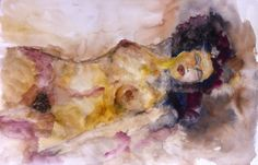Voluptas, Aquarela, 2017    ... No divino impudor da mocidade,  Nesse êxtase pagão que vence a sorte,  Num frêmito vibrante de ansiedade,  Dou-te o meu corpo prometido à morte!   A sombra entre a mentira e a verdade...  A nuvem que arrastou o vento norte...  - Meu corpo! ... (Florbela Espanca - Volúpia) arte, art, femme, woman, erotique, erotica, watercollor, nu