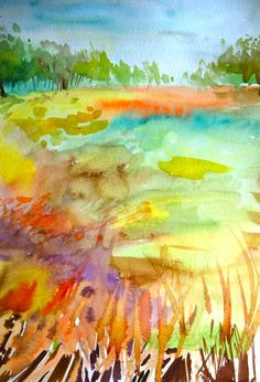 Original watercolor landscape of a late summer meadow. This is a painting from memory of laying in the park on a summer afternoon. A swirl of colors