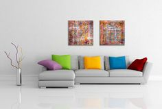 Collection of 2 abstract art prints printed on canvas  by hayagold