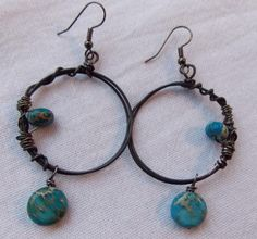Steel and Dyed Howlite Earrings $30
