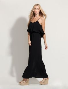 An instant summer classic - our new black ruffle top maxi dress