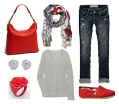 """""""Pop of Red"""" by laura-meiers ❤ liked on Polyvore featuring Abercrombie & Fitch, TOMS, Burberry, We Are Owls, Tiffany & Co., Kate Spade, boyfriend jeans, red accent, grey and red purse"""