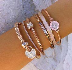 Rose gold and diamond bracelets