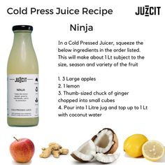 This juice tastes like lemon squash, light, refreshing and bursting with vitamins, minerals and electrolytes for staying hydrated. If you love making your own juices, I'm sure this one will become a fav. Cold Pressed Juice, Coconut Water, Juices, Squash, Minerals, Vitamins, Lemon, Nutrition, Apple