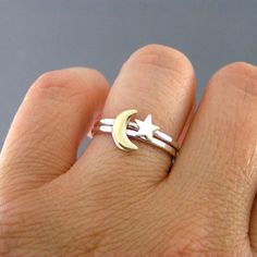 So simple but I LOVE this!  Moon And Star Rings Custom Sterling Silver And by LittleGreenRoom