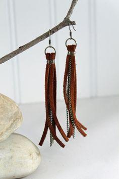 Leather Earrings Tassel Earrings Fringe Earrings by abbyjstudio, $15.00